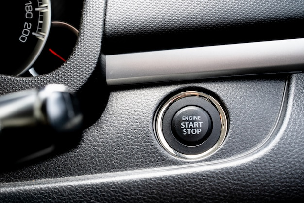 View of push start or stop engine button.