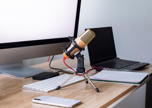 View of radio recording podcast in broadcast studio