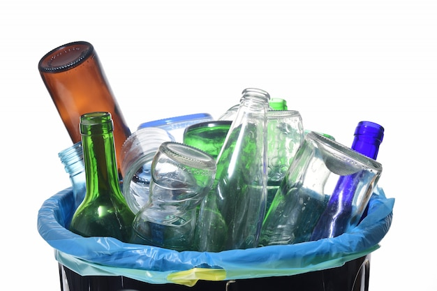 View of recycling glass on white
