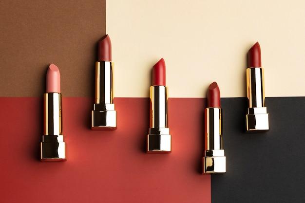 Above view red lipsticks arrangement