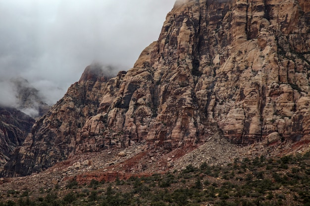 View of red rock canyon national park in foggy day at nevada