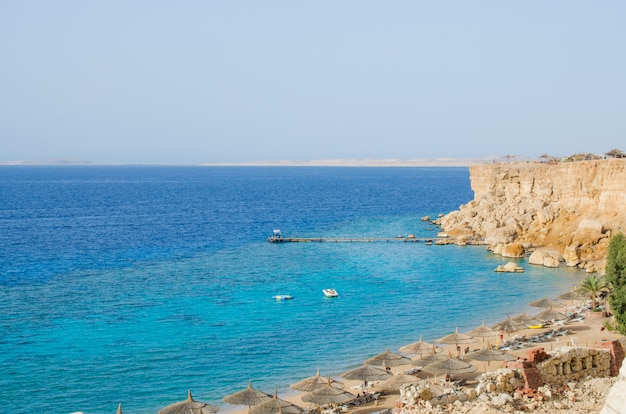 View of the red sea and the beach. summer at the sea.