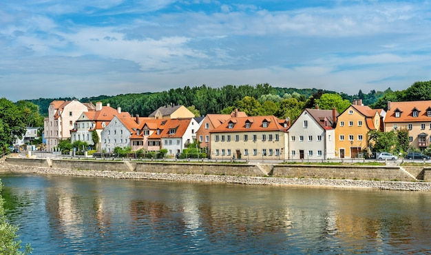 View of regensburg with the danube river in germany, bavaria