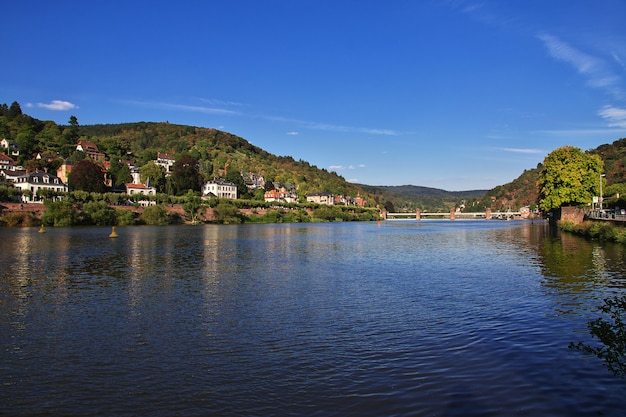 The view on the river in heidelberg, germany