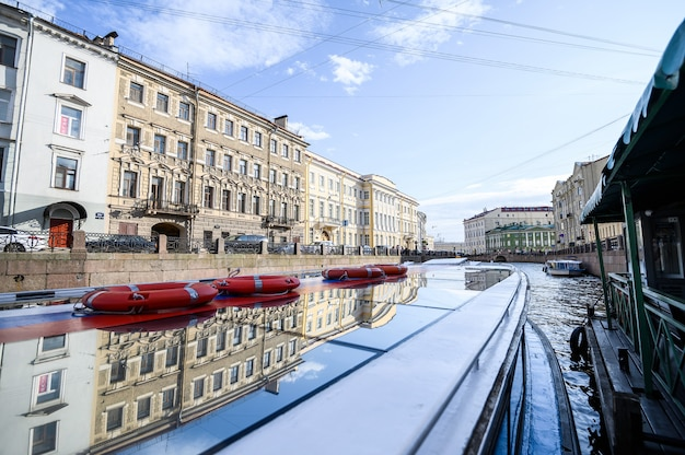View of the river moika from the boat. russia, saint-petersburg