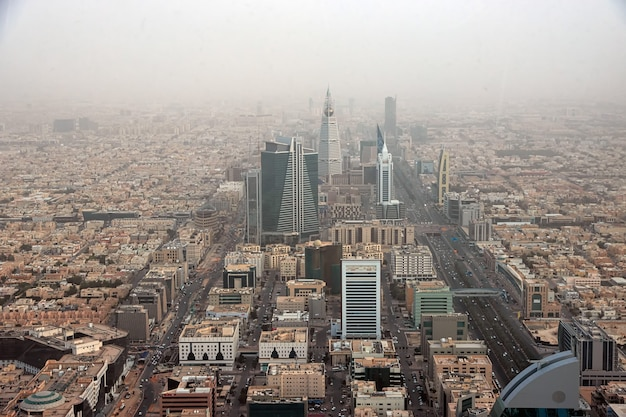 View on riyadh, saudi arabia from sky bridge in kingdom centre burj al-mamlaka