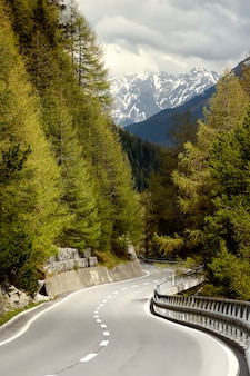 View of road through the swiss national park in sunny spring day. scenic places of switzerland.