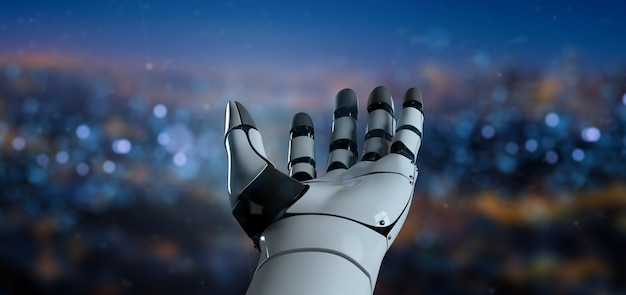View of a robot hand cyborg - 3d rendering