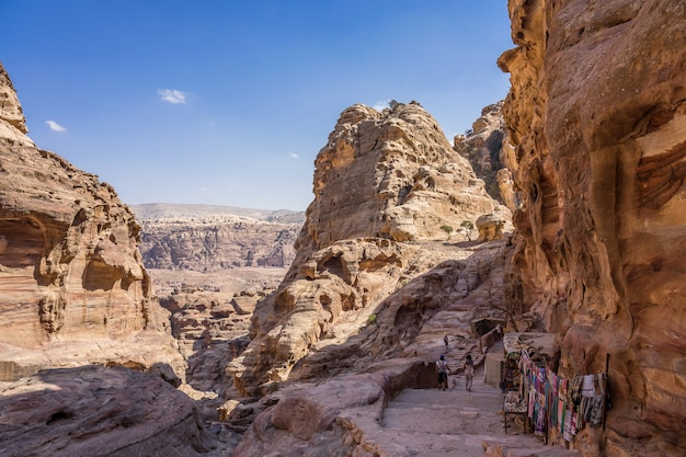 View of rocks and way to the monastery in petra, jordan.