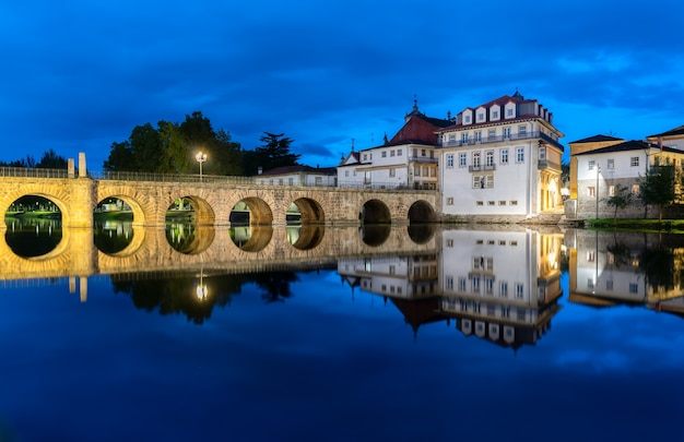 View of the roman bridge that crosses the river tamega, in chaves, portugal.