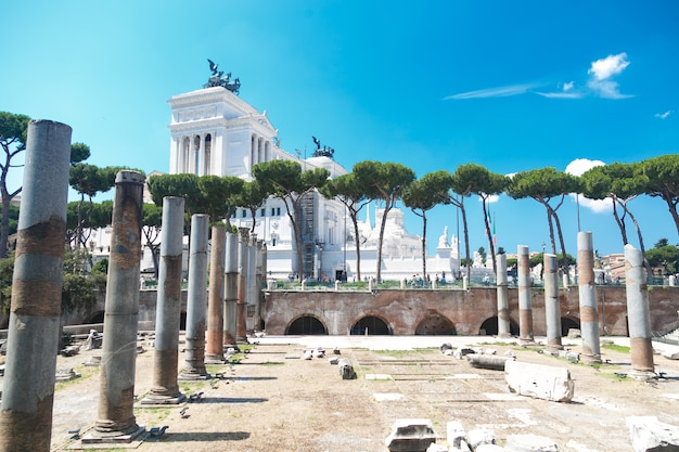 View of the roman ruins in a sunny day in rome, italy.