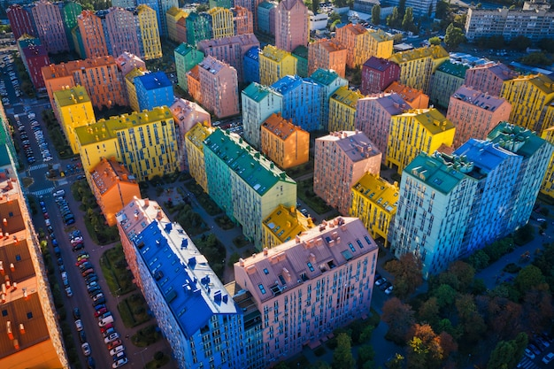 View of the roofs of houses of a multi-colored residential quarter in kyiv