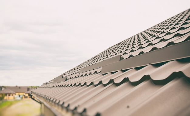 The view of the rooftop made from metal tile