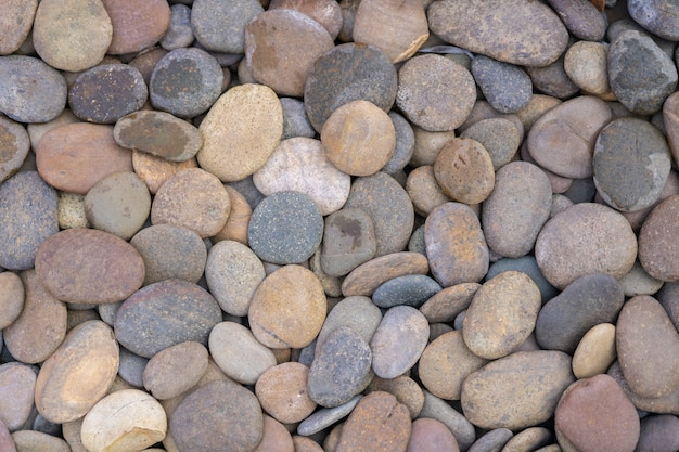 View of round pebble background textture.