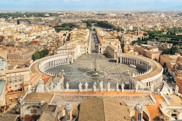 View of saint peter square in vatican, rome, from basilica dome