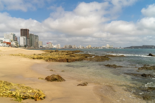 A view of salinas beach from the rocks
