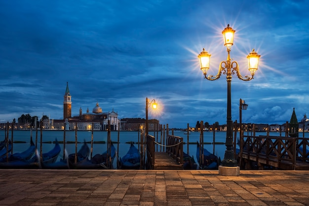 View of san giorgio maggiore from venice by night, italy.