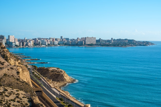 View of san juan alicante district from a top view. touristic city in costa blanca. mediterranean sea.