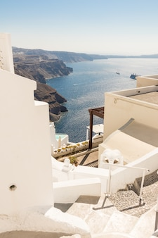 View of santorini caldera in greece from the coast