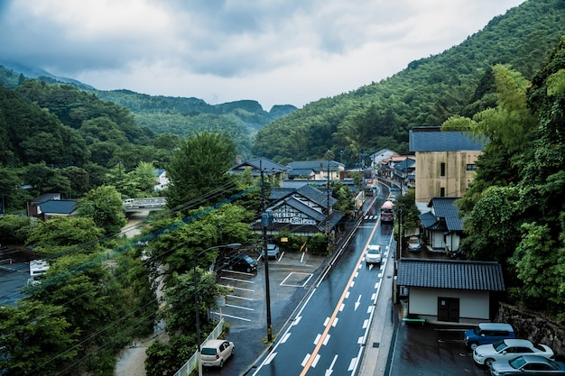 View of saraguri town on a raining day near nanzoin temple in sasaguri, fukuoka prefecture, japan