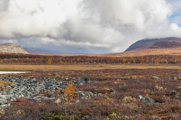 View to sarek national park in autumn, sweden