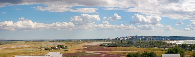 View on scholkino city (crimea, ukraine). three shots composite picture.
