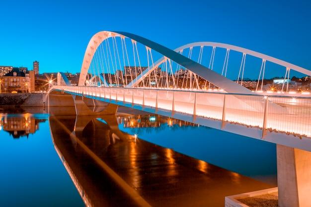 View of schuman bridge by night, lyon, france, europe.