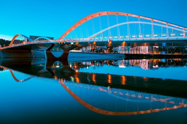View of schuman bridge by night, lyon, france.