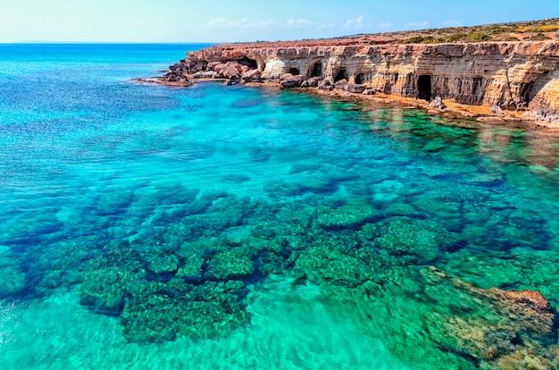 A view of a sea shore in kavo greko nenar aiya napa, cyprus