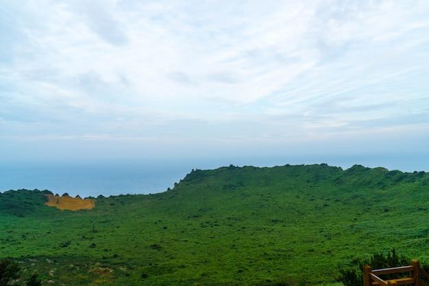 View of seongsan ilchulbong (volcanic cone) in jeju island.