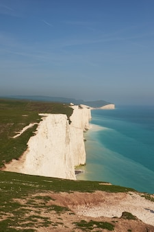 A view of the seven sisters chalk cliffs on an autumn day in east sussex
