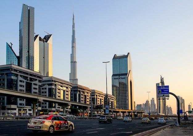 View of sheikh zayed road skyscrapers in dubai, uae