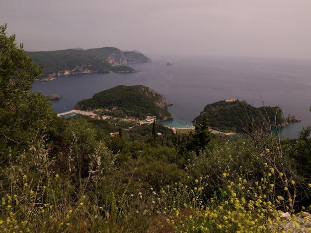 View of shoreline in corfu