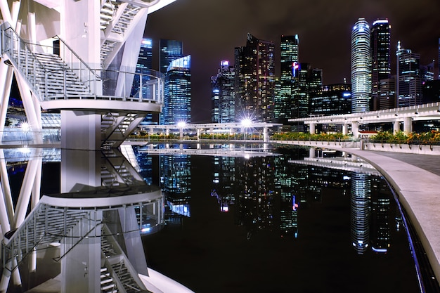 View on singapore downtown from art science museum