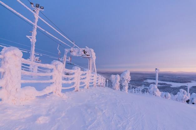 View of the ski resort ruka finnish lapland, cold winter day.