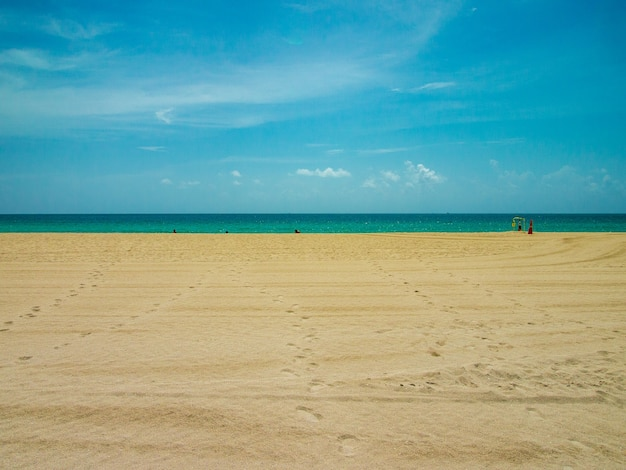 View of sky, sea and sand on miami beach at summer