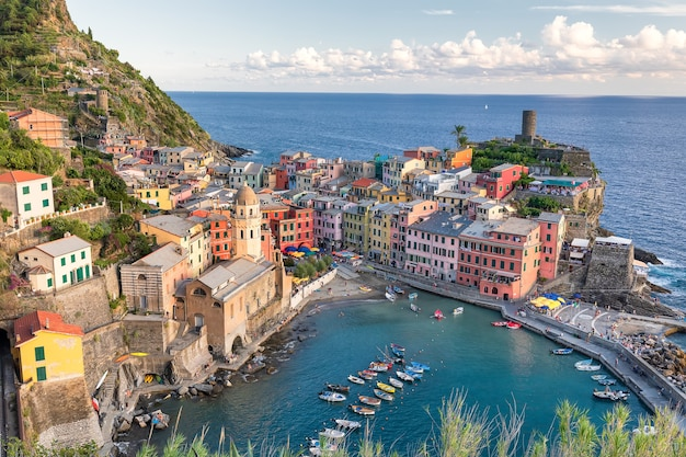 View on small city manarola in cinque terre from hill. liguria, italy