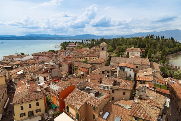 View of small italian town sirmione on top of the scaliger castle.