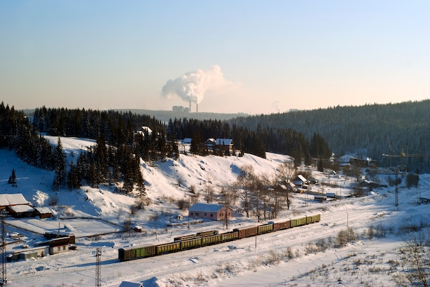 View of the small railway station in the winter valley with standing freight cars