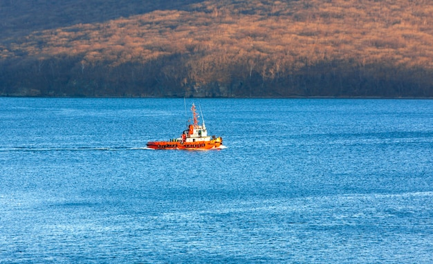 View of a small tugboat in the  sea