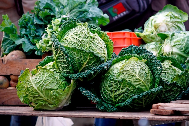 View of some cabbages on the local market.