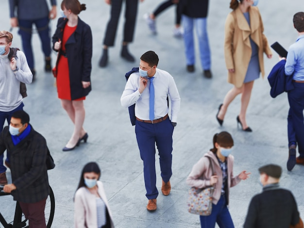 위에서 수술 용 마스크를 쓴 사람들을 봅니다. 테러, 전염병, 코로나 바이러스 감염, 개인 탐지와 관련된 위험한 주제의 개념. 3d 렌더링