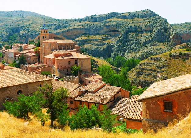 View of spanish mountains town in sunny day