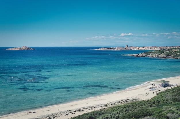 View of spiaggia li feruli in north sardinia, italy