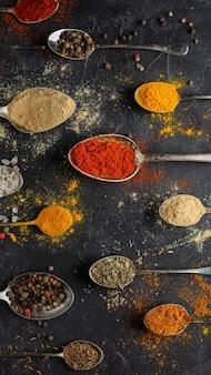 Above view spices arrangement