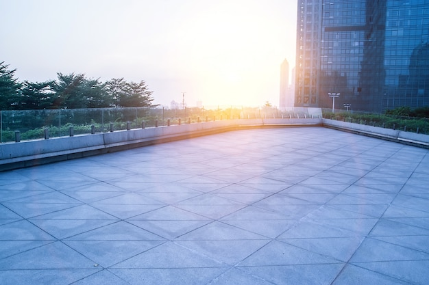 View of square tiles at sunset