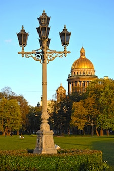 View of st. isaac's cathedral and carved lantern in st. petersburg, russia