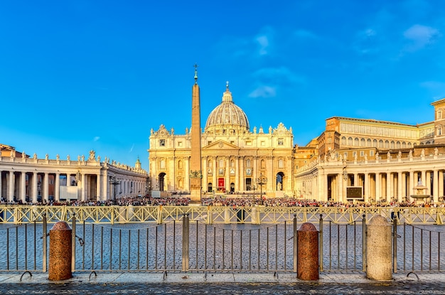 View of st peter basilica and piazza san pietro in vatican city, rome, italy. famous roma landmark.