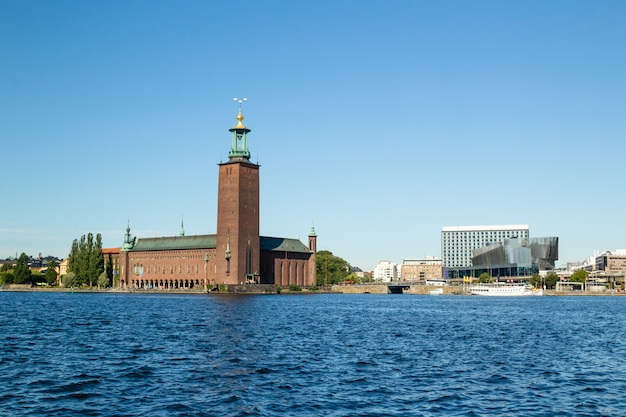 View on stockholm city hall from sea side