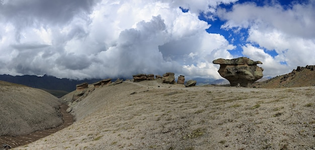View of the stone mushrooms of elbrus near the northern slope of the mountain. photographed in the caucasus, russia.